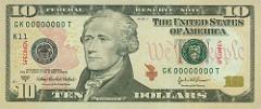 Face on $10 Ten dollar bill: