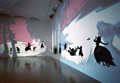 Kara Walker's installation Insurrection! (Our Tools were Rudimentary, Yet We Pressed On) combines: