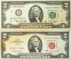 President on $2 two dollar bill: