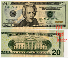 President on $20 twenty dollar bill: