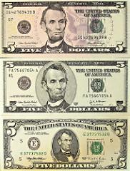 President on $5 five dollar bill:
