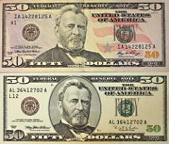 President on $50 fifty dollar bill: