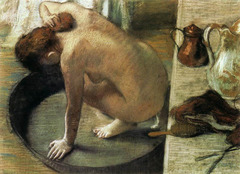 The French Impressionist Edgar Degas used this dry drawing medium when he created The Tub in 1886.