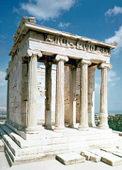 The Greek architect Kallikrates designed the Temple of Athena Nike using this style of column, named after a region in coastal Greece.