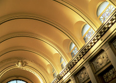 This is a ceiling based on the structural principles of the arch.