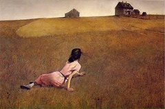 This twentieth-century American painter chose tempera to describe his neighbor's